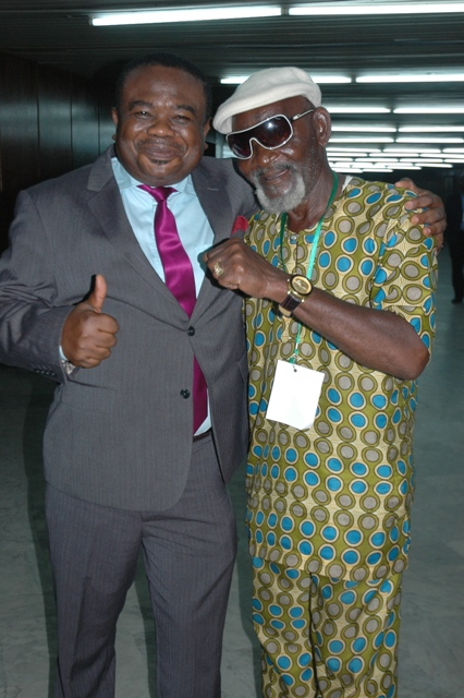 COSON Chairman, Chief Tony Okoroji left  and Highlife maestro, Fatai Rolling Dollars